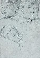 École italienne vers 1600 Etude de trois têtes d'enfant Crayon noir sur papier bleu 17 × 12,5 cm