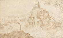 Attribué à Paul BRILL (Anvers 1554-Rome 1626) Paysage au château donnant sur un port Plume et encre brune 19 × 31 cm (Petites pliure...