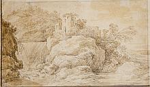Cornelis van der SCHALKE (Haarlem 1611-1671) Paysage animé à la chaumière ; paysage à la cascade Plume et encre brune sur traits de ...