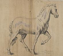 Conrad MEYER (Zürich 1618–1689) Etude de cheval Plume et encre grise, rehauts de gouache blanche 33 × 38 cm Signé et daté en bas à d...