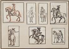 Attribué à Israël SYLVESTRE (Nancy 1621–Paris 1691) Sept études de cavaliers aux tambours Plume, encre brune et sanguine 24 × 34 cm ...
