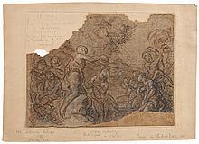 Charles de LA FOSSE (Paris 1636-1716) Le baptême du Christ Trois crayons sur papier chamois 23 × 30 cm de forme irrégulière (Partie ...