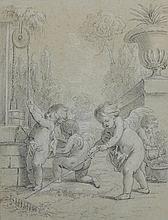 Attribué à Jean-Martial FREDOU (Fontenay-le-Père 1711 - Versailles 1795) Les Putti jardiniers Crayon noir et rehauts de craie blanch...