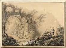 Jean PILLEMENT (Lyon 1728-1808) Personnages dans un paysage aux ruines Crayon noir et rehauts d'encre noire 35 × 51 cm Signé, situé ...