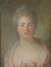 Attribué à Jean Baptiste PERRONEAU (Paris vers 1715-Amsterdam 1783) Portrait de femme en buste Pastel 52,5 × 40,5 cm Signé et daté e...