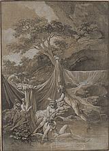 Attribué à Jacques Philippe Joseph de SAINT QUENTIN (Paris 1738-1780) Nymphes au bain Plume et encre noire, lavis gris et rehauts de...