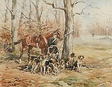 Baron Karl Reille (1886-1975) Le valet de chiens Aquarelle signée en bas à droite et datée 1922 21 × 27 cm XE