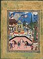 Miniature illustrant un couronnement, Iran safavide, XVIe siècle Folio monté sur page d'album aux marges vertes ornées d'animaux et rin