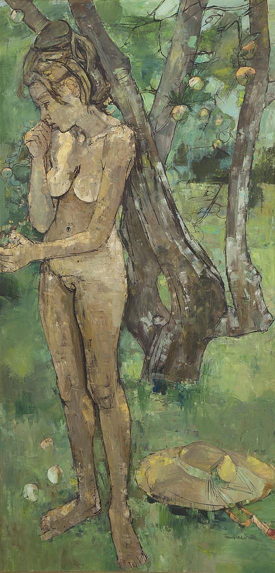 Françoise ADNET (née en 1924) Sybile dans le verger Huile sur toile Signée et datée 61 200 x 100 cm