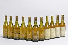 Ensemble de 11 bouteilles   4 bouteilles VIN JAUNE D'ARBOIS, Rolet (1980 & 1985, ela)   1 bouteille VIN JAUNE D'ARBOIS, Fruitière Vinicole 1983 (LB)    6 bouteilles VIN JAUNE D'ARBOIS, Fruitière Vinicole 1975 (Hommage à Pasteur)