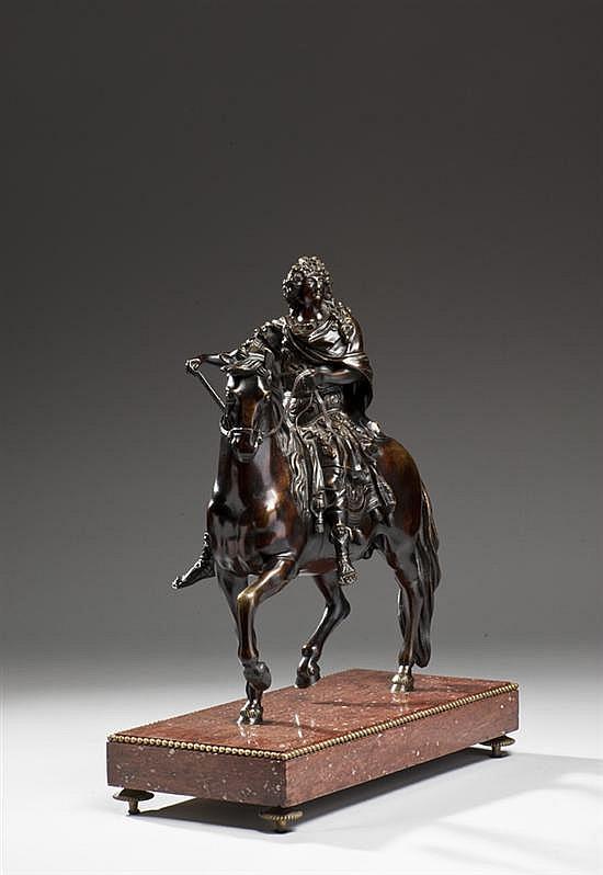 Martin Desjardins?(1637-1694) d'après Statue équestre de Louis XIV Bronze à patine translucide XIXe siècle?Hauteur : 42 cm - Largeur..