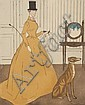 Maurice TAQUOY (1878 - 1952) Elégante et lévrier Lithographie en couleurs contrsignée au crayon dans la planche. 45 x 34 cm, Maurice Taquoy, Click for value