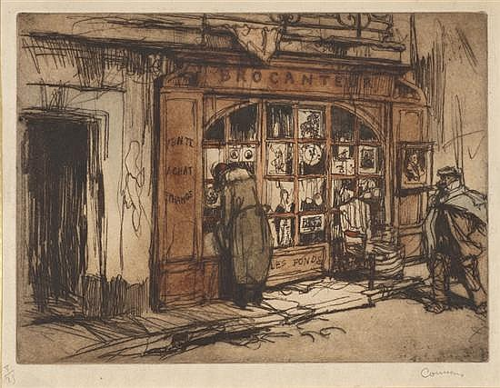 Armand Coussens (1881-1935) 135[La Devanture du brocanteur]. Vers 1920. Eau-forte et vernis mou