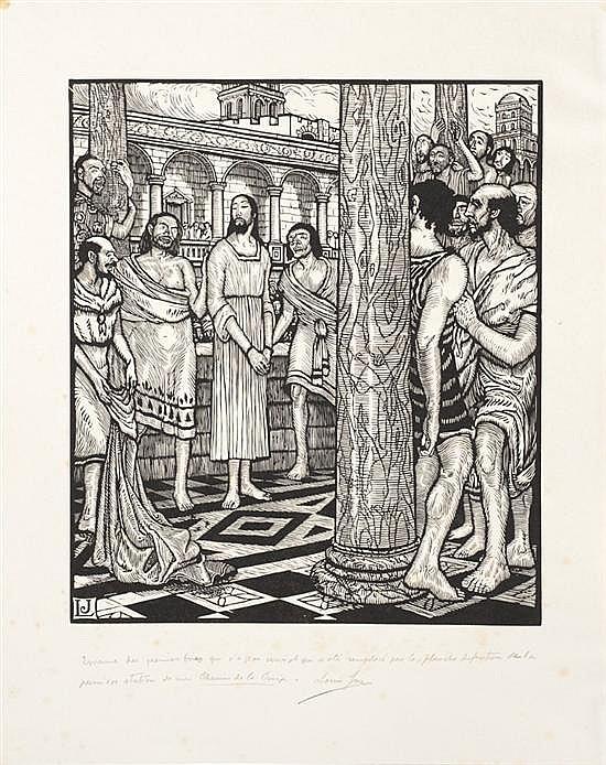 Louis Jou (1881-1968)Le Chemin de la Croix. 1917. Album, 490 x 560, contenant une suite complète de 15 planches (dont le titre)