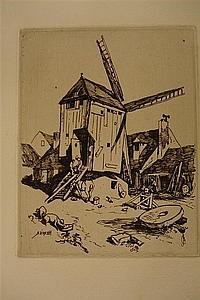Adolphe Hervier (1818-1879) Une ferme ; Moulin à vent. 1854. Eau-forte