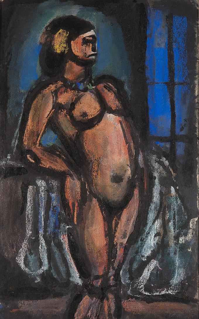 Georges ROUAULT (1871-1958) Nu drapé devant la fenêtre, 1929 Gouache, lavis d'encre de Chine et pastel sur papier Signé au crayon en..