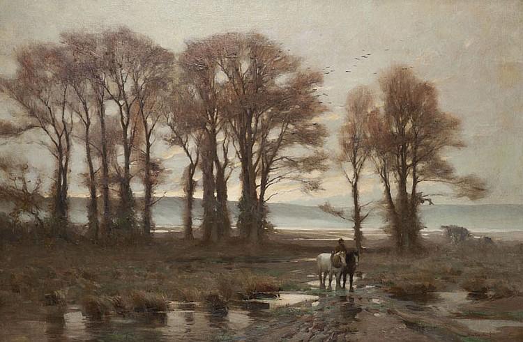 Jan Willem VAN BORSELEN (1825-1892) Paysage d'hiver