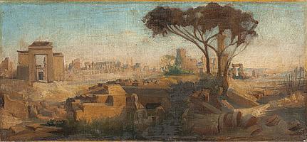 André GIROUX (1801-1879) Paysage d'Italie