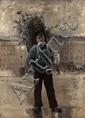 École française du XIXe siècle Portrait d'un jeune homme en pied sur les boulevards parisiens