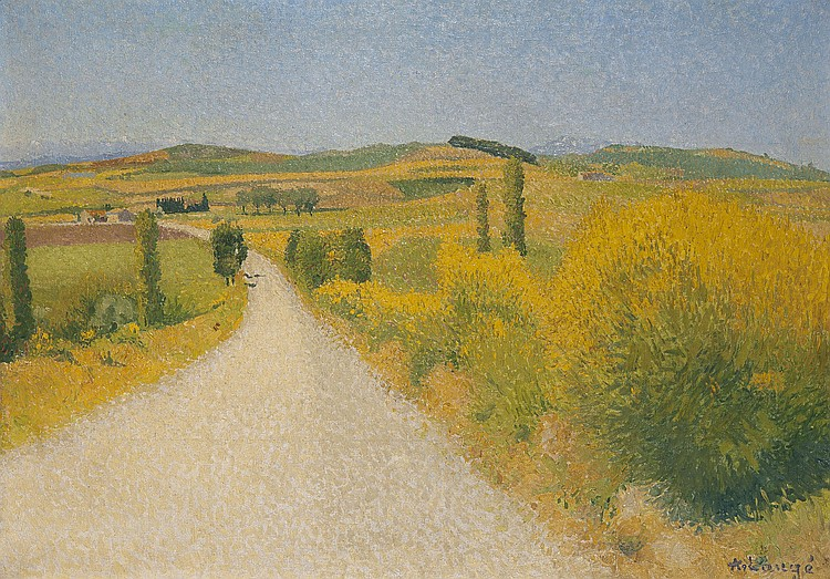 Achille LAUGÉ (1861-1944) Paysage du Sud, les genêts Huile sur toile Signée en bas à droite 54 x 76 cm Provenance : Collection parti...