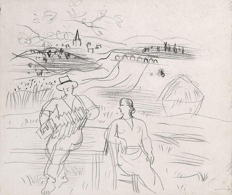 Raoul DUFY (1877-1953) Accordéoniste et femme dans un paysage de Langres, 1948 Dessin au crayon sur papier 21,6 x 29,8 cm Un certifi...