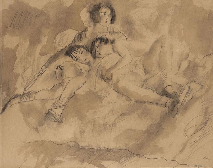 Jules PASCIN (1885-1930) Le Repos, 1930 Lavis et crayon estompé sur papier Griffe en bas à droite 47 x 60 cm Expositions : Fondation...