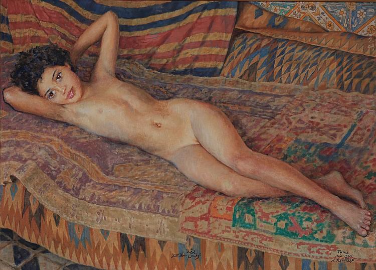 Alexandre ROUBTZOFF (1884-1949) Jeune fille alanguie au harem, Tunis, août 1945