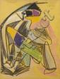 Charles LAPICQUE (1898-1988) La Rencontre, 1945 Pastel sur papier Signé et daté en haut à droite Porte une étiquette de la galerie T...