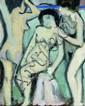 Jean METZINGER (1883-1956) Trois nus Huile sur carton marouflé sur toile 27 x 22 cm Ce tableau était le verso d'un paysage, Champs d..