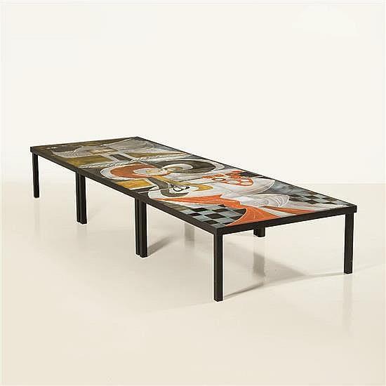 Roger Capron (1922-2006)Trois tables basses formant triptyque