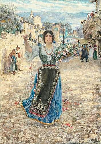AUGUSTO CORELLI (1853-1910) - JEUNE FEMME JETTANT
