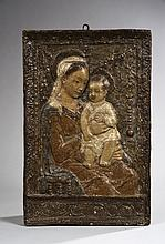 Vierge à l'Enfant en cartapesta polychrome