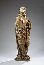 Grande Vierge de Calvaire en bois sculpté en ronde-bosse et restes de polychromie, dos plat