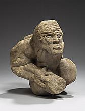 Personnage grotesque, acrobate ?, en pierre calcaire sculptée en ronde-bosse