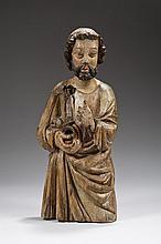 Saint Pierre en chêne sculpté et polychromé représenté à mi-corps, dos plat