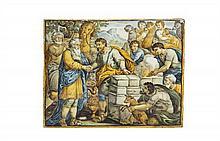 Castelli Plaque rectangulaire à décor polychrome du sacrifice d'Isaac