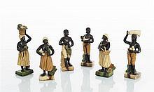 Apt Le Castellet Rare suite de six figures représentant trois hommes et trois femmes noirs portant des