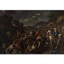 Attribué à Domenicus van WIJNEN(1661-1695)La bataille de Tomyris contre CyrusToile118 × 168 cmProvenance : Vente anonyme, Rome, Fina...