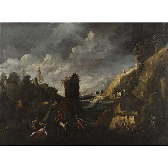 Antonio TRAVI(Gênes 1613-1668)Paysage avec des pêcheursToile148 × 198,5 cm