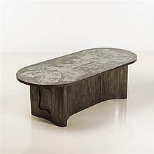 Philip (1907-1987) et Kelvin Laverne (né en 1937) Xiang Shi Table de salle à manger Bronze gravé et bois Signée Pièce uniq...