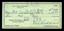 CAL HUBBARD SIGNED PERSONAL CHECK DATED 1964 W HOF PLAQUE AND PEREZ STEEL JSA