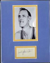 Neil Johnson Signed Index Card Matted with a Photograph Certified by JSA James Spence Authentication