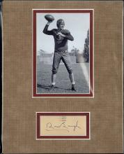 Sam Baugh Cut Signature Matted with Photograph Certified by JSA James Spence Authentication
