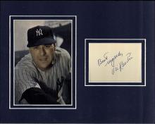 Vic Raschi Signed Index Card Matted with a Photograph Certified by JSA
