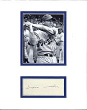 Dixie Walker Cut Signature Matted with a Photograph Certified by JSA