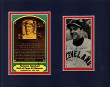 Lou Boudreau Signed Photograph Matted with Hall of Fame Postcard Certified by JSA