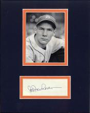 Hal Newhouser Cut Signature Matted with a Photograph Certified by JSA James Spence Authentication