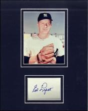 Ed Lopat Signed Index Card Matted with a Photograph Certified by JSA James Spence Authentication