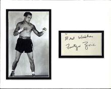 Fritzie Zivic Signed Index Card Matted With a Photograph Certified by JSA