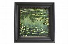 Painting of Pond and Lily Pads Artist Signed: F.S